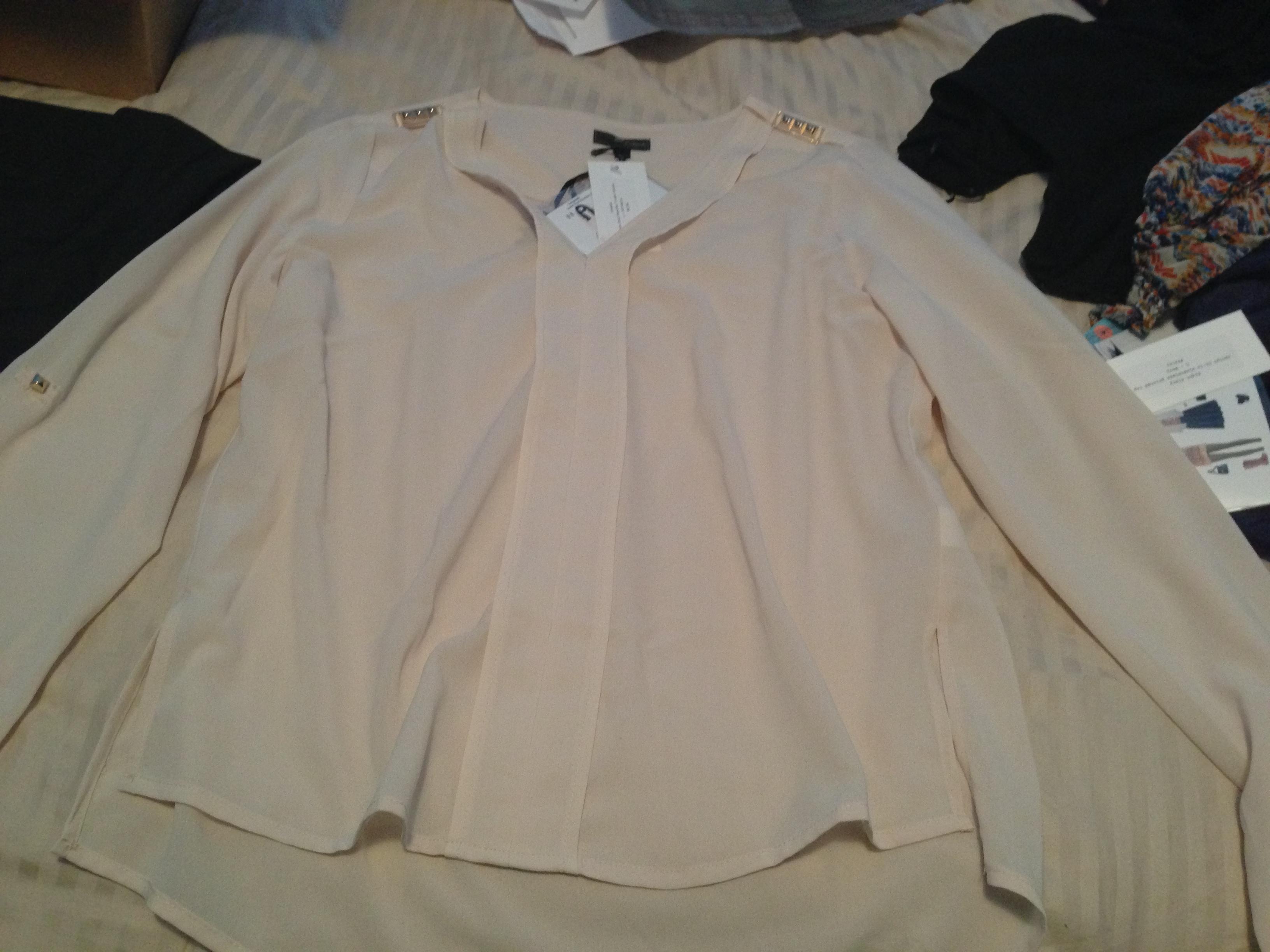 Lovposh Lexie Stud Shoulder V-Neck Blouse, $58.00