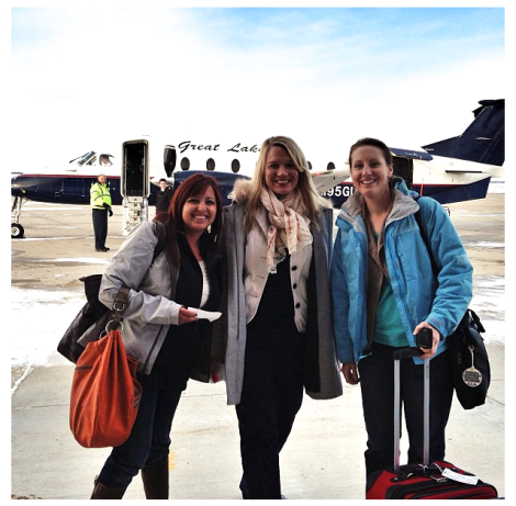 Prairie Sisters and our small plane! Photo courtesy Katie Pinke