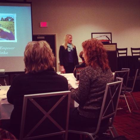 Katie Pinke presenting on blogging strategy