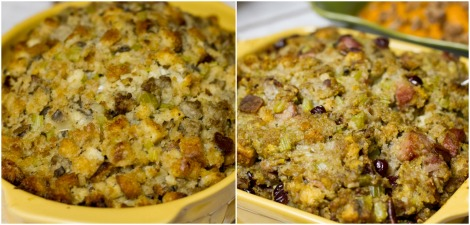 Traditional Stuffing and Cornbread Stuffing with Smoked Sausage and Cranberries